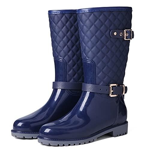 gracosy Stivali di Gomma Donna Pioggia Stivali da Acqua Piatto Chelsea Moda Plaid Giardino Scarpe Impermeabile Antiscivolo Stivaletti Lavoro Nero Blu