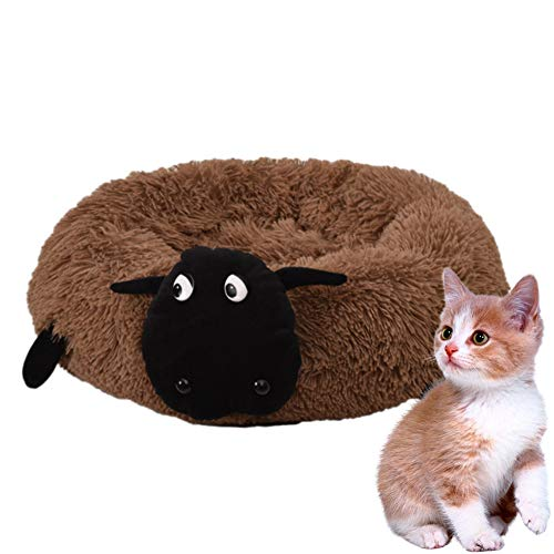 HIMA PETTR Deluxe Huisdier Nest, Afneembare Wasbare Slaap Kat Slaapbank Geschikt voor Kleine Katten, Bruin