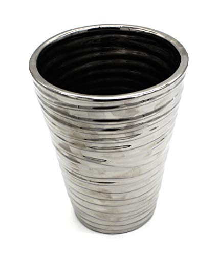 DARO DEKO Keramik Vase Silber Größe L - 19cm