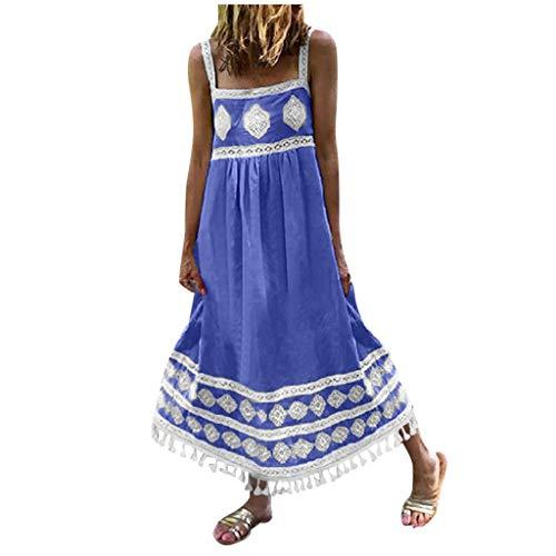 Vestido para mujer, vestido de verano con estampado bohemio, para playa, vacaciones, con flecos, para vacaciones