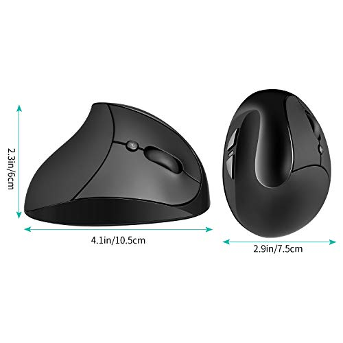 Vertical Mouse AURTEC Rechargeable 2.4G Wireless Ergonomic Mice with USB Receiver Black 6 Buttons and 3 Adjustable DPI 800//1200//1600