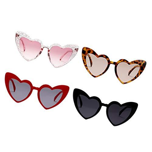 MagiDeal 4X Mujeres Hombres Gafas de Sol en Forma de Corazón Gafas de Sol UV400 Gafas Streetwear