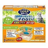 【花王】ニュンとも清潔トイレ 成猫用スタートセット アイボリー&グリーン 1組 ×5個セット