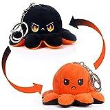 MOMSIV Llavero de pulpo reversible de peluche con forma de pulpo para niñas, para mujeres, niños, Color naranja y negro.,
