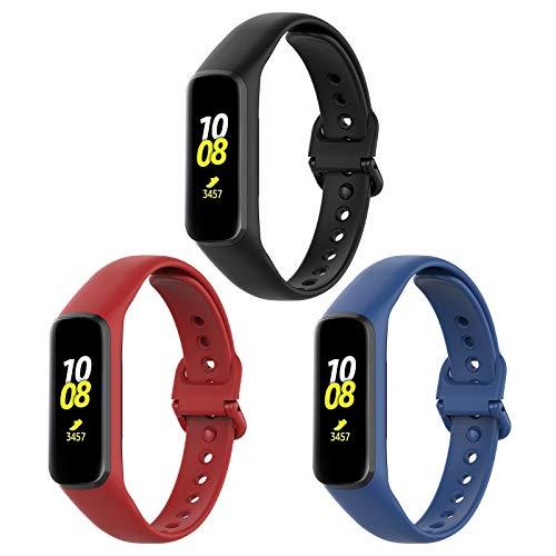 TLING 3 Piezas Correas para Samsung Galaxy Fit 2 Correas, Reemplazo Pulsera Transpirable Resistente al Sudor Silicona Pulsera Correa para Samsung Galaxy Fit 2, Negro + Rojo + Azul