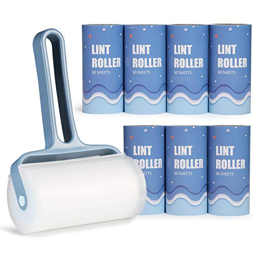 Lint Rollers, O BRUSHZOO Lint Rollers for Pet Hair Extra Sticky with Extra 7 Lint Roller Refill (60 Sheet per Refill, Total 480 Sheets), Lint Roller for Clothes, Sofa, Carpet, Bed, or Car Seats