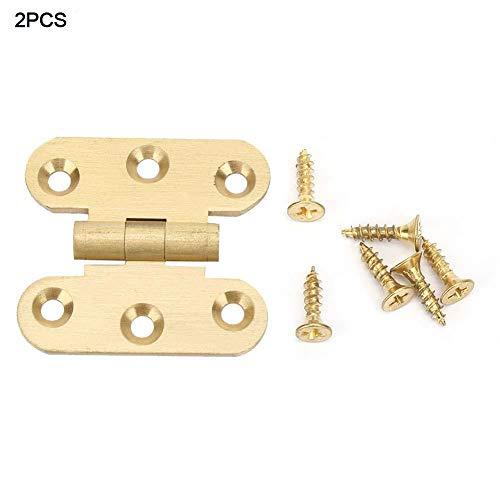 2 stks messing kast scharnier, zelfsluitende deur overlay scharnieren, Face mount meubelen lade butt scharnier, h type deur scharnier(50MM)