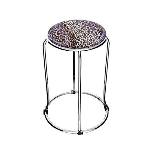 Mode Edelstahl Kleiner runder Hocker Stuhl aus weichem Leder Tischhocker