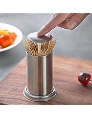 Tandenstokerhouder van roestvrij staal, tandenstokerdispenser automatische tandenstoker Dispenser Push Style Container Toothpick Holder opbergdoos voor thuis Hotel Restaurant zilver