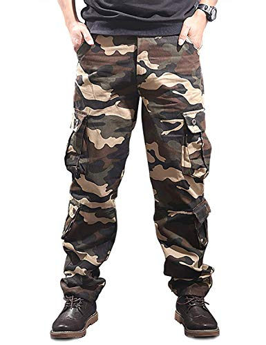 zeetoo Mens Relaxed-Fit Cargo Pants Multi Pocket Military Camo Combat Work Pants GZ03 Khaki Camo