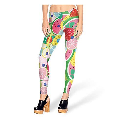 WUXEGHK Sexy Girl Fruit Salad Pastèque Blueberry Imprimé Élastique Slim Fitness Femmes Jogging Sport Yoga Leggings Pantalon Pantalon Taille:Xl