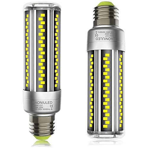 Lampadina LED E27 20W 2500LM Equivalenti a 200W Incandescenza, Lampadine E27 LED Mais 6500K Luce Bianca Fredda, Alta luminosità e Risparmio Energetico E27 Illuminazione Led Lampada, 2 Pezzi