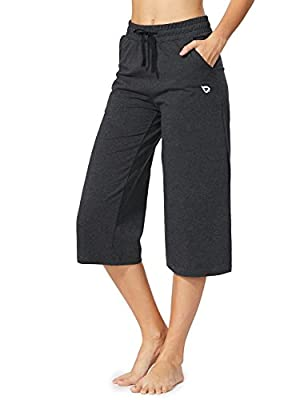 BALEAF Women's Active Yoga Lounge Indoor Jersey Capri Pocketed Walking Crop Pants Charcoal Size XL