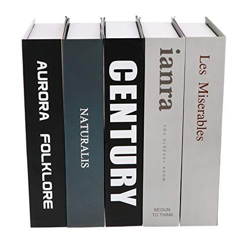 NUOBESTY 5 libros falsos - Libros falsos decorativos en estilo moderno para llenar una estantería para la casa para la decoración de una tienda de café