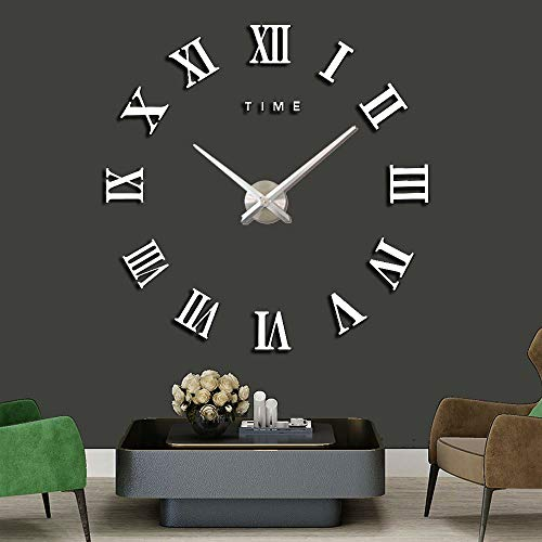 DIY Wall Clock 3D Silent Stickers Digital Modern Craft Arts Self Adhesive Acrylic Mirror Stickers Clock for Home Office Decor (Silver)