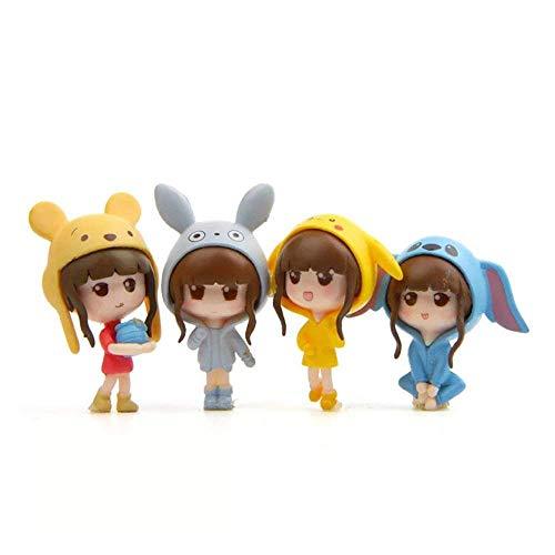4 pcs (1 set) Kawaii Girls Toys Figurines Playset, Garden Cake Decoration