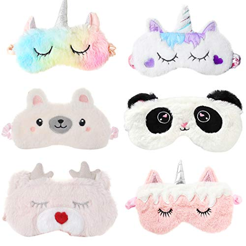 Aniwon 6 Piezas Antifaz infantil para Dormir Niños Máscara para Dormir Antifaz de Unicornio para Niñas Hermoso Regalo