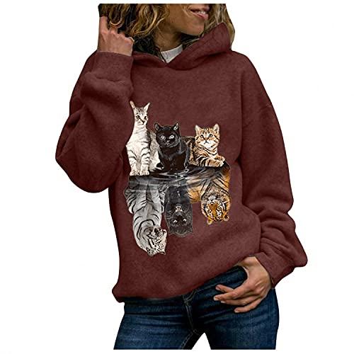 BIBOKAOKE Sudadera con capucha para mujer, diseño de gatos, manga larga, con capucha, para mujeres, adolescentes, niñas, moda casual, túnica, sudadera, sudadera de manga larga con capucha, Vino 4, L
