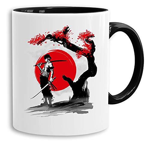 Red Sun Zoro - Tasse Kaffeetasse Son Ruffy Luffy Naruto Saitama One Dragon Master Goku Ball Zoro Roshi Piece Db, Farbe:Weiß