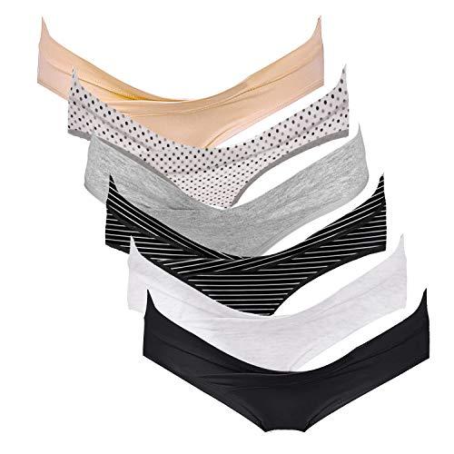 Intimate Portal Damen Schwangerschaftsslip aus Baumwolle Umstandsmode Unterwäsche Umstandsslip 6er Pack L Schwarz Grau Beige Weiß Streifen Punkt