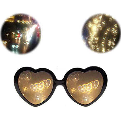 Daoyuan 3D Glasses Hearts Fireworks Diffraction Glasses Special Effect Light for Outdoor Music Party/Bar/Fireworks,Schwarz