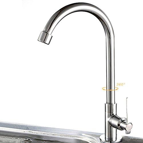 Rubinetto miscelatore monoblocco cromato con rotazione a 360° per rubinetto della cucina, 6 tipi di montaggio a parete per acqua fredda, rubinetto da cucina girevole universale per verdure - argento