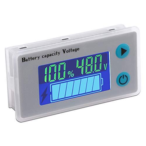 DROK Battery Meter 48V Digital Battery Remaining Capacity Percentage Level Voltage Temperature Monitor Tester 10100V 12V 36V 24V 48 Volt Electric Boat Battery Power Analyzer