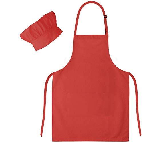Dapper&Doll Kids Apron and Chef Hat - Gift Set for Boys Girls Ages 4-10 - Red