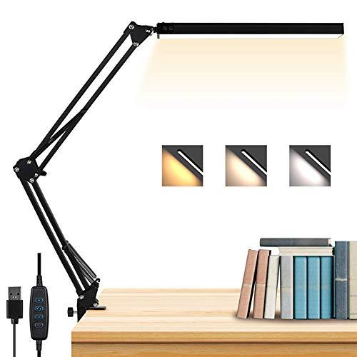 Metall LED Schreibtischlampe mit Klemmfuß, Schwenkarm Architektenlampe Arbeitsleuchte mit 3 Beleuchtungsfarbe Büro Leselampe Studienlampe