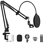 "Microphone Arm Stand Desk Suspension Boom Scissor Arm Stand Professional Adjustable Mic Stand with Pop Filter, 3/8"" to 5/8"" Adapter, Mic Clip, Heavy Duty Clamp for Blue Yeti Snowball Radio Recording"