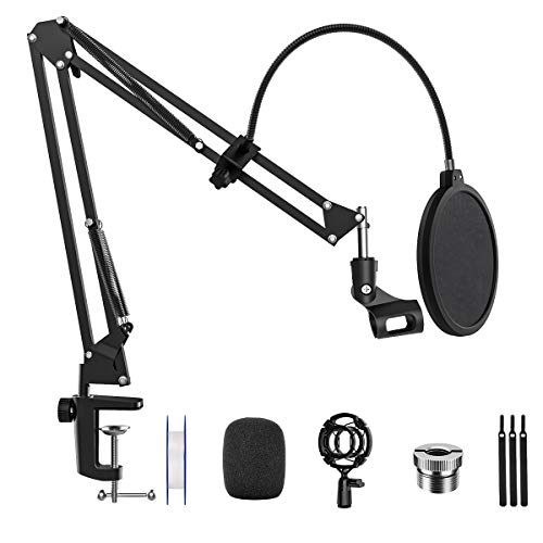 Microphone Arm Stand Desk Suspension Boom Scissor Arm Stand Professional Adjustable Mic Stand with Pop Filter, 3/8' to 5/8' Adapter, Mic Clip, Heavy Duty Clamp for Blue Yeti Snowball Radio Recording