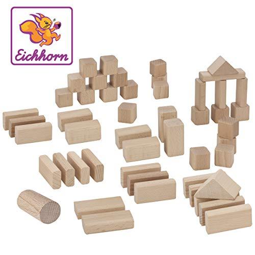 Eichhorn 50 naturfarbene Holzbausteine in Aufbewahrungsbox mit Sortierdeckel, FSC 100% zertifiziertes Buchenholz, hergestellt in Deutschland, Motorikspielzeug geeignet für Kinder ab 1 Jahr