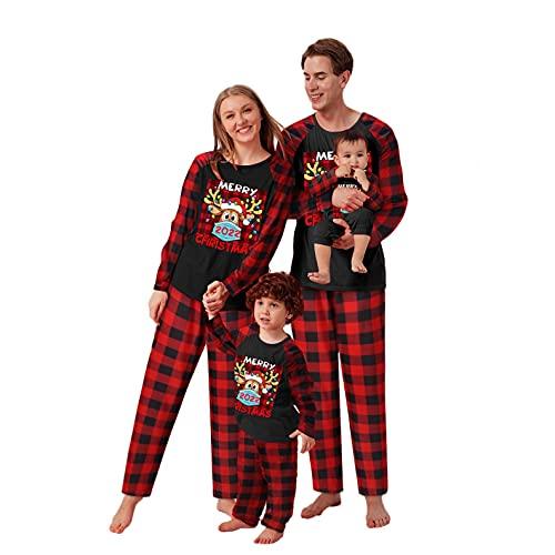 Alueeu Pijamas Dos Piezas Familiares de Navidad Conjuntos Otoño Invierno Sudadera Algodón para Mujeres Hombres Niño Bebé Ropa para Dormir Chándal Suéter Año Nnuevo