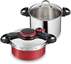Tefal Clipso Minut Pressure Cooker Set, 5L Nonstick Titanium Coating Pot and 7.5L Stainless Steel Pot, Multi Color, Stainless Steel