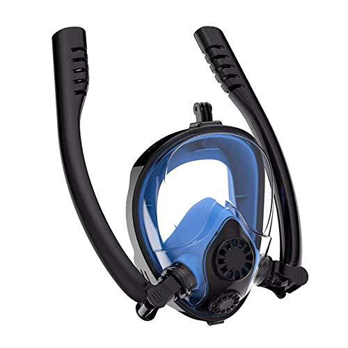 Abilieauty Voll Gesicht Schnorchel Maske Schwimmen Wasser Sports Doppel Schläuche Anti Nebel Tauchmaske - Schwarz Blau, L/XL