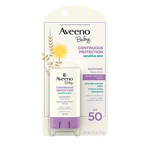 Aveeno Stick d'écran solaire pour bébé - Protection naturelle - Formule douce à base d'extraits d'avoine pour la peau sensible des bébés - SPF 50 - 14 ml