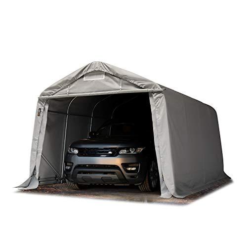 TOOLPORT Garagenzelt Carport 3,3 x 4,8 m in grau Weidezelt Unterstand Lagerzelt ca. 550 g/m² PVC Plane und Stabiler Stahlrohrkonstruktion