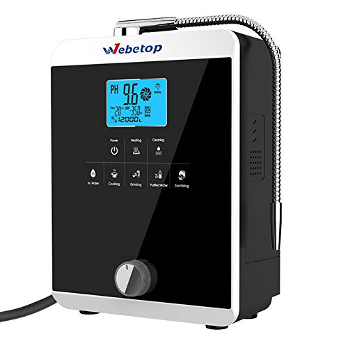Webetop Water Ionizer Machine Home Alkaline Acidic Water Filtration System Produces pH 2.8-11.0 Up to -800mV ORP Black