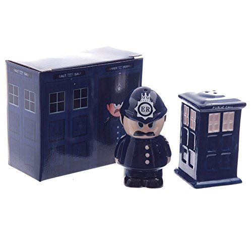 Other Ceramic Policeman and Police Box Salt and Pepper Set, Mixed, 8cm Height 8.5cm