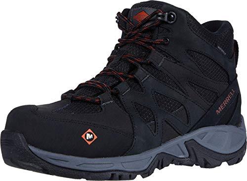 Merrell Women's Siren Mid Waterproof Alloy Toe Work Boots Industrial Shoe, Black/Grey, 6