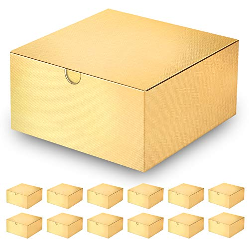 MyGeek 12 Boxes 8x8x4 Inches, Box with 74.8ft Ribbon, Gold Paper Christmas Boxes with Lids for Gift Ornaments, Crafting, Cupcakes, Birthday Gift, Wedding Favor Boxe, Textured Finish