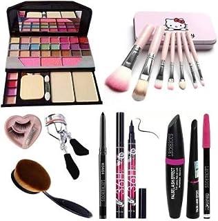 BTN Combo Set 7pcs Makeup Brush Set With Tya Makeup Kit, Eyelashes With Glue, Eyelashes Curler, Foundation Brush, Kajal, W...