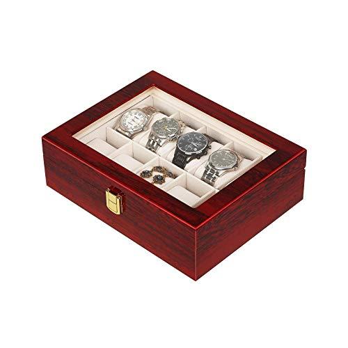 Caja de reloj de madera Caja de exhibición Organizador de joyas titular de