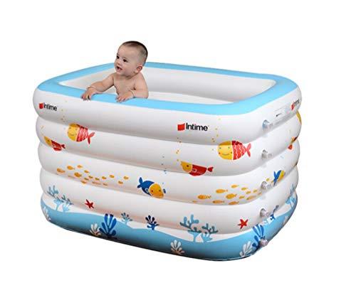 Review ZMM Inflatable Bathtub, Baby Inflatable Swimming Pool Young Child Bathtub Bathtub Baby Bathtub Bathtub Child Play Pool Insulation Thicken Bathtub Cartoon Ocean Bubble Bottom