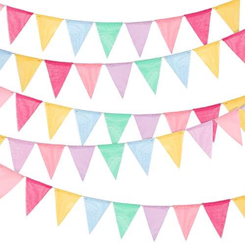 Mehrfarbige Flaggen Wimpel Banner Imitiert Sacwinzigen Bunting Banner Pastell Stoff Dreieck Flagge Girlande für Geburtstag Abschlussfeier Sommer Braut Party Hängen Dekoration (60 Stücke)