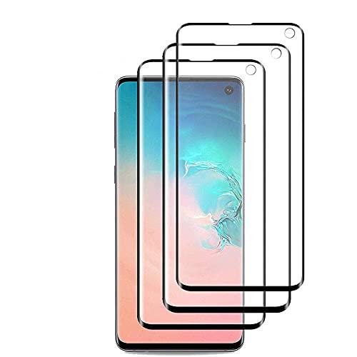 EWWE [3 Pack] Panzerglas Schutzfolie für Samsung Galaxy S10, [HD] [Kratzresistent] [Fingerabdruckresistent] [Ultradünn], Displayschutzfolie für das Samsung Galaxy S10 - Schwarz
