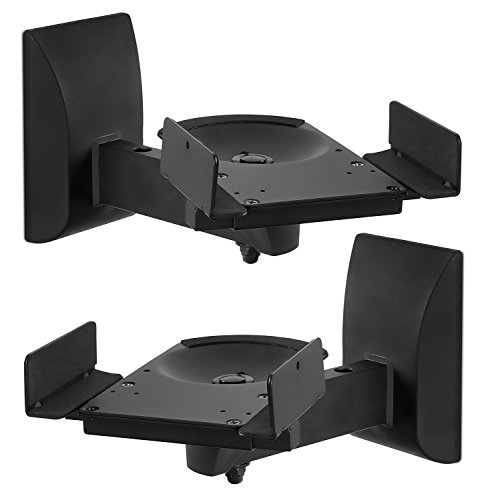 Mount-It! Speaker Wall Mounts, Pair of Universal Side Clamping Bookshelf Speaker Mounting Brackets, Large or Small Speakers, 2 Mounts, 55 Lbs Capacity, Black (MI-SB37)