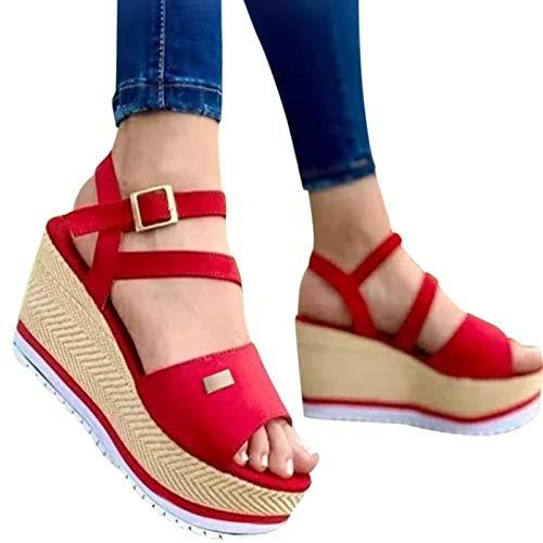ZYLL Sandalias de cuña Sandalias de Mujer 2021 Nuevos Zapatos de Mujer Zapatos de tacón de Moda Zapatillas de Verano Casuales Zapatillas de Mujer,Rojo,40