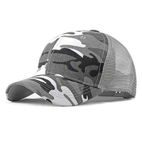 lliang Hoed Lente Zomer Zonnehoed Caps voor Mannen Vrouwen Verstelbare Baseball Cap Ademend Mesh Trucker Cap Camo Camouflage Baseball Hat (Farbe: Grau, Maat: Verstelbaar)