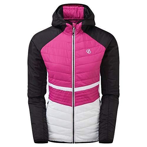 Dare 2b Surmount Jacke aus Wolle mit Reißverschluss mit Kapuze Baffled/Quilted Jackets Damen, Active Pink/Schwarz, FR: 3XL (Größe Hersteller: 20)